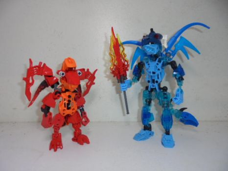 Renae and Ember: Bionicle Style by Eli-J-Brony