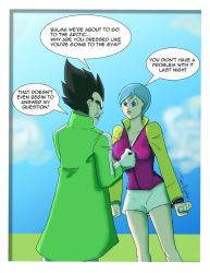 Bulma and Vegeta Fighting about Clothing by tpizgirl