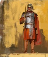 Roman soldier sketch by JosephQiuArt
