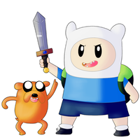 Chibi Finn and Jake by Mitzy-Chan