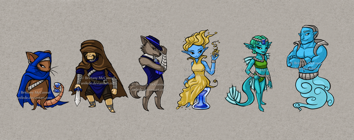 .:Commission:. Blue Fans and Muses by Anilede