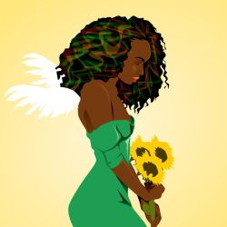 Afroblack woman with flowers by CamerDesigner