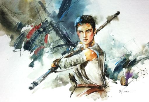Rey - The Force Awakens Watercolour Painting by Abstractmusiq