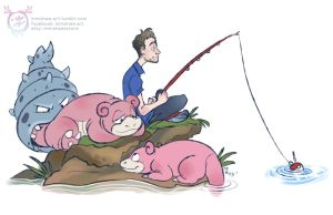 Justin's Water Pokemon - Slowpoke and Slowbro