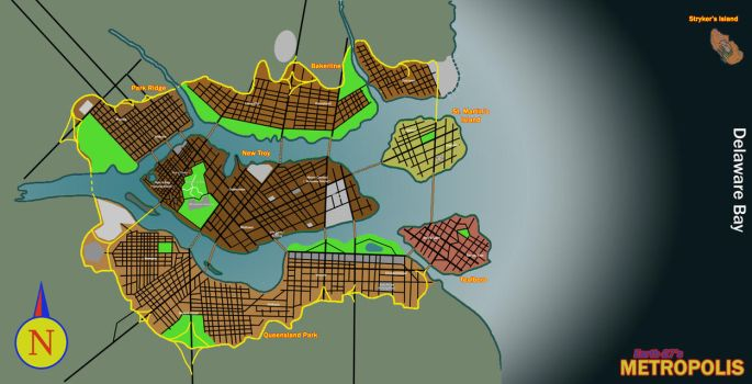 [Earth-27 for Nitwits] Map of Metropolis - WIP by Roysovitch