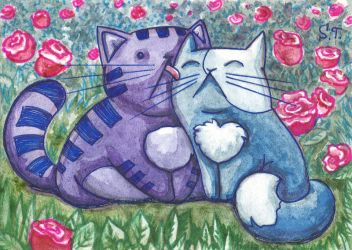 ACEO Love in a rose garden by Siriliya