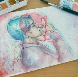 JIMIN WATERCOLOR | BTS fanart by KastanjeS