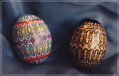 Handpainted Hen Eggs - Venetian by Jade-Pandora