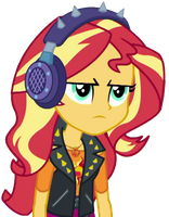[Vector] Sunset Shimmer using spiked earphones by TheBarSection