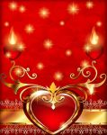 Greeting valentine card with hearts and ornament by Lyotta