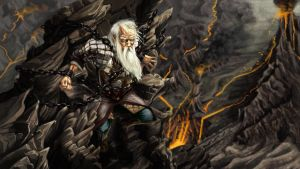 Hurin watches the doom of his house from  by crosbyillustrates