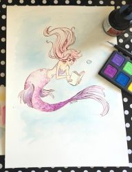 Mermaid Watercolor Illustration Video by jbsdesigns