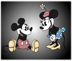 Vintage Mickey + Minnie Mouse by andy-pants