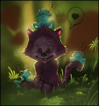 Cat-bear in the forest by youffy