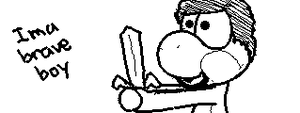 Miiverse Drawings: Brave Boy by ThatCuteDinosaur