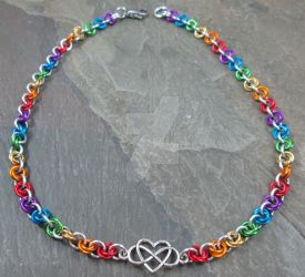 Celtic Heart Rainbow Mobius Necklace by BittersweetLuna