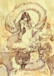 Woman,dragon and wolves by fernandomerlo