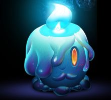 One Face a Day 226 - Litwick (pokemon) commission