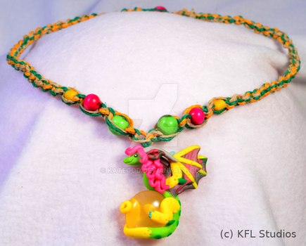 Green and Yellow Dragon/Wyvern Pendant Redux by kategod