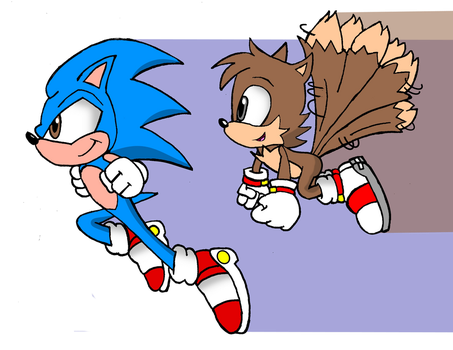 Mobius: Sonic and Tails Running by FrostTheHobidon