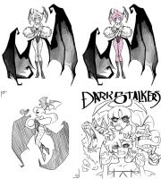 DarkStalkers Sketches by GuilhermeRM