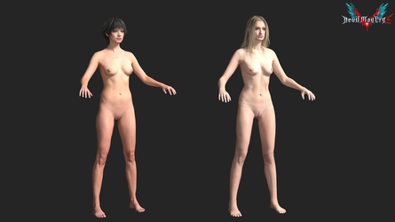 devil may cry 5: naked trish and lady textures by rotten-eyed