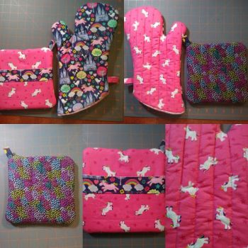 Unicorn Oven Mitt and Hot Pad set, version 2 by MechanicalApple