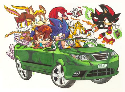Sonic the Hedgehog n Pals Do the Dew by Spectrumelf