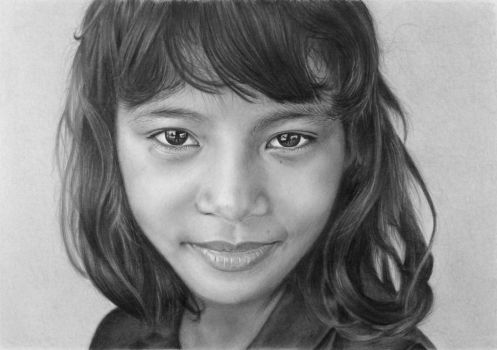 Pencil portrait of an orphan girl from Myanmar by LateStarter63