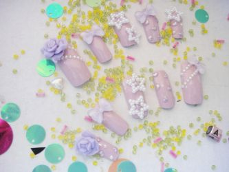 Another set of my fave pastel purple 3d nail set by jadelushdesigns
