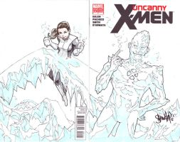 Uncanny X-men Sketch Cover - Iceman and Shadowcat by 13wishes