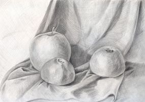 Apples and tangerine pensil by jkBunny