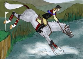 Harap and John into the river. by Louvan