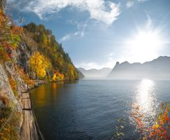 autumn lake path by 8moments