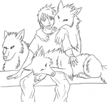 [Free Lineart] Wolf Friends by wolvenlied1989