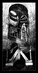 Spiral staircase and a ghost