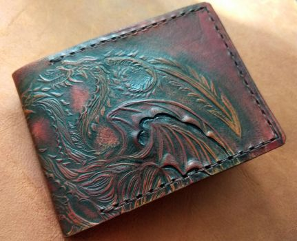 Mahogany Targaryen leather wallet  front by Bubblypies