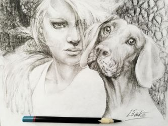 The girl and the dog by Lineke-Lijn