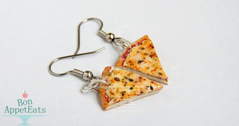 Commission - Cheese Pizza Slice Earrings by PepperTreeArt