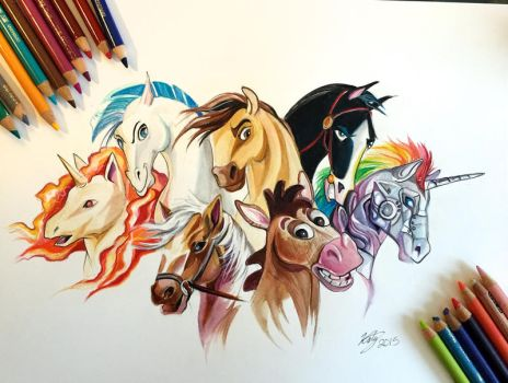 126- My Favorite Equines (colored) by Lucky978