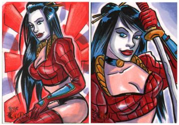 Billy Tucci Shi sketch cards by EricaHesse