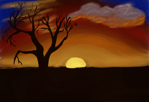 Sunset With Tree by Songwind