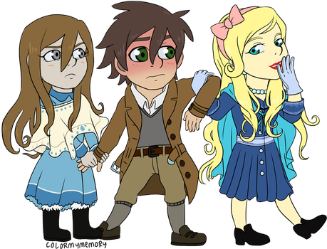 Chibi Commission: Historyman101 (Love Triangle) by colormymemory