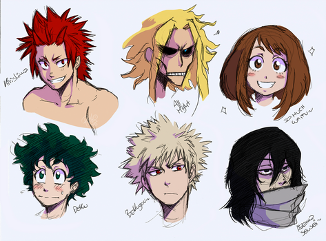 BNHA characters doodles by Riiko96
