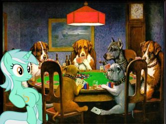 Lyra playing poker with dogs by RainbowDash28