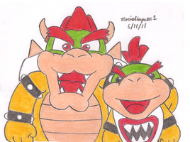 Bowser and Bowser Jr by MarioSimpson1