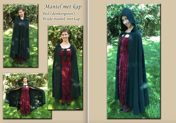 CLOAK with HOOD DARK GREEN by Alise-Art