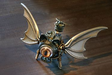 Steampunk Winged Cat Sculpture by CatherinetteRings