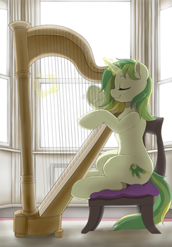[Patreon reward sketch] playing the harp by Evomanaphy
