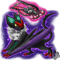 Noivern and Vivillon by InuMimi